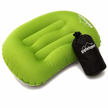 Campingkissen - Reisekissen I Aufblasbares Kissen für die Reise oder Camping I Grün I ohne Bezug - 1