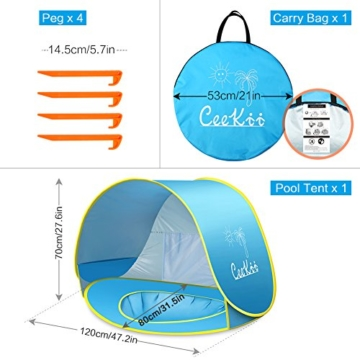 Ceekii Baby Strandzelt, Pop-up Baby Strand Zelt Portable Shade Pool UV-Schutz Sun Shelter für Kleinkinder, Strandmuschel, Baby Pool - 2