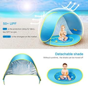 Ceekii Baby Strandzelt, Pop-up Baby Strand Zelt Portable Shade Pool UV-Schutz Sun Shelter für Kleinkinder, Strandmuschel, Baby Pool - 4