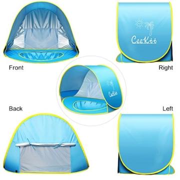 Ceekii Baby Strandzelt, Pop-up Baby Strand Zelt Portable Shade Pool UV-Schutz Sun Shelter für Kleinkinder, Strandmuschel, Baby Pool - 6