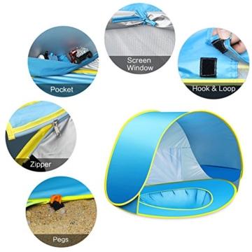 Ceekii Baby Strandzelt, Pop-up Baby Strand Zelt Portable Shade Pool UV-Schutz Sun Shelter für Kleinkinder, Strandmuschel, Baby Pool - 7