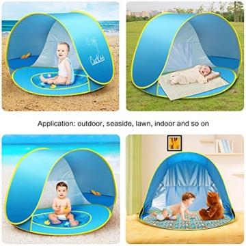 Ceekii Baby Strandzelt, Pop-up Baby Strand Zelt Portable Shade Pool UV-Schutz Sun Shelter für Kleinkinder, Strandmuschel, Baby Pool - 8