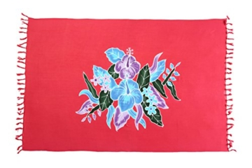 Ciffre 2 er Set Original Yoga Sarong Pareo Wickelrock Strandtuch Rund ca 170cm x 1110cm Handtuch Schal Kleid Wickeltuch Wickelkleid Blumen Muster Edel Türkis Lila Rot Grün - 2