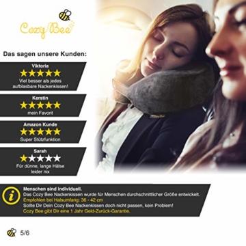 Cozy Bee Nackenkissen - Bequemes Memory-Schaum-Foam Nackenhörnchen - Reisekissen für Flugzeug und Auto Reisen - Waschbar - Grau - 4
