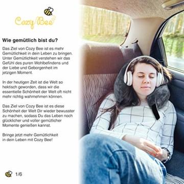 Cozy Bee Nackenkissen - Bequemes Memory-Schaum-Foam Nackenhörnchen - Reisekissen für Flugzeug und Auto Reisen - Waschbar - Grau - 5