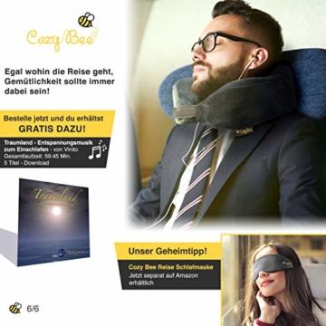 Cozy Bee Nackenkissen - Bequemes Memory-Schaum-Foam Nackenhörnchen - Reisekissen für Flugzeug und Auto Reisen - Waschbar - Grau - 7