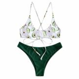 Damen Schwimmen Sexy Sport Unterwäsche Yoga Fitness Cartoon Tankini Shorts Strand Bikini Set Gefüllter BH Bademode Beachwear Dessous Badeanzüge mit Hotpants Badebekleidung (EU:36, Grün) - 1