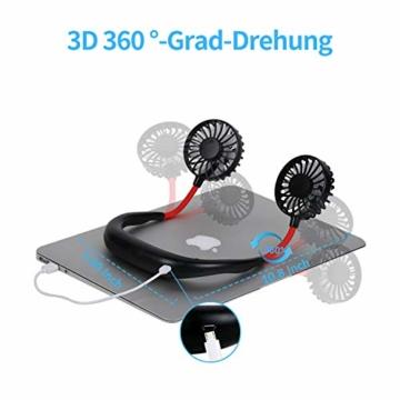 Dericam Mini Ventilator,Halsventilator 360 Grad freie Drehung/3-Gang-Einstellung mit Nackenpolster für Aromatherapie,Schweißfester USB Ventilator für Home-Office-Reisen,Indoor- und Outdoor-Camping - 2