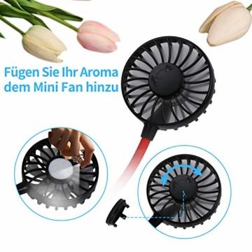 Dericam Mini Ventilator,Halsventilator 360 Grad freie Drehung/3-Gang-Einstellung mit Nackenpolster für Aromatherapie,Schweißfester USB Ventilator für Home-Office-Reisen,Indoor- und Outdoor-Camping - 3