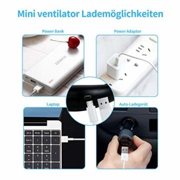Dericam Mini Ventilator,Halsventilator 360 Grad freie Drehung/3-Gang-Einstellung mit Nackenpolster für Aromatherapie,Schweißfester USB Ventilator für Home-Office-Reisen,Indoor- und Outdoor-Camping - 4