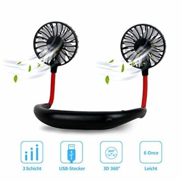 Dericam Mini Ventilator,Halsventilator 360 Grad freie Drehung/3-Gang-Einstellung mit Nackenpolster für Aromatherapie,Schweißfester USB Ventilator für Home-Office-Reisen,Indoor- und Outdoor-Camping - 1