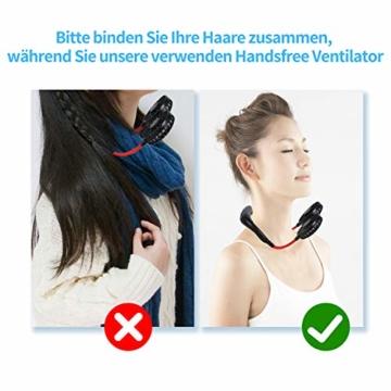 Dericam Mini Ventilator,Halsventilator 360 Grad freie Drehung/3-Gang-Einstellung mit Nackenpolster für Aromatherapie,Schweißfester USB Ventilator für Home-Office-Reisen,Indoor- und Outdoor-Camping - 5