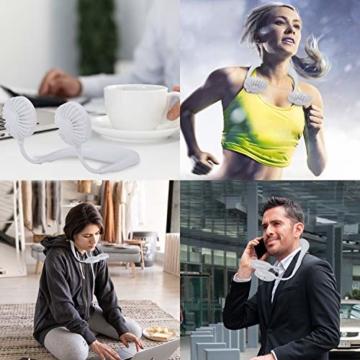 Dericam Mini Ventilator,Halsventilator 360 Grad freie Drehung/3-Gang-Einstellung mit Nackenpolster für Aromatherapie,Schweißfester USB Ventilator für Home-Office-Reisen,Indoor- und Outdoor-Camping - 7
