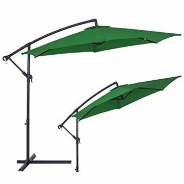 Deuba® Alu Ampelschirm Ø 330cm grün mit Kurbelvorrichtung Aluminium Wasserabweisende Bespannung - Sonnenschirm Schirm Gartenschirm Marktschirm - 3