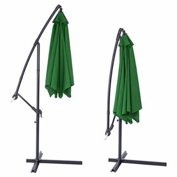 Deuba® Alu Ampelschirm Ø 330cm grün mit Kurbelvorrichtung Aluminium Wasserabweisende Bespannung - Sonnenschirm Schirm Gartenschirm Marktschirm - 4
