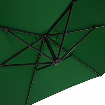 Deuba® Alu Ampelschirm Ø 330cm grün mit Kurbelvorrichtung Aluminium Wasserabweisende Bespannung - Sonnenschirm Schirm Gartenschirm Marktschirm - 5