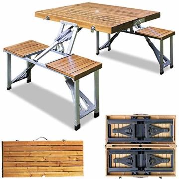 Deuba Alu Campingtisch Koffertisch mit Stühlen Klappbar Tragegriff Schirmhalterung Holz Sitzgarnitur Campingmöbel Set - 2