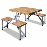 Deuba Alu Campingtisch Koffertisch mit Stühlen Klappbar Tragegriff Schirmhalterung Holz Sitzgarnitur Campingmöbel Set - 1