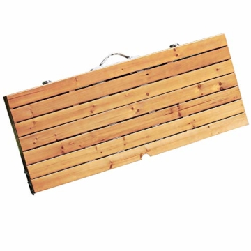 Deuba Alu Campingtisch Koffertisch mit Stühlen Klappbar Tragegriff Schirmhalterung Holz Sitzgarnitur Campingmöbel Set - 3