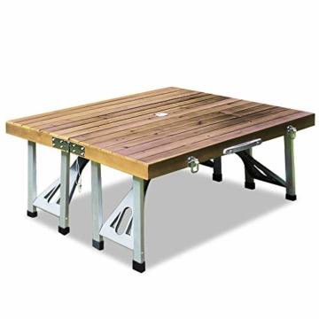 Deuba Alu Campingtisch Koffertisch mit Stühlen Klappbar Tragegriff Schirmhalterung Holz Sitzgarnitur Campingmöbel Set - 4