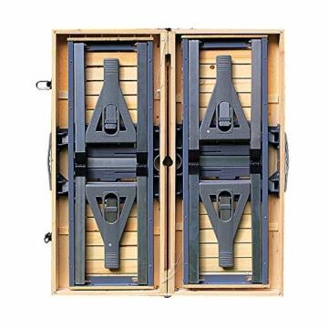 Deuba Alu Campingtisch Koffertisch mit Stühlen Klappbar Tragegriff Schirmhalterung Holz Sitzgarnitur Campingmöbel Set - 5