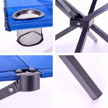 Divero Campingtisch Falt-Tisch faltbar mit Getränkehalter und Transport-Tasche – Polyester Aluminium – Farbe: Rahmen hellgrau - Bespannung blau - 2