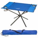 Divero Campingtisch Falt-Tisch faltbar mit Getränkehalter und Transport-Tasche – Polyester Aluminium – Farbe: Rahmen hellgrau - Bespannung blau - 1