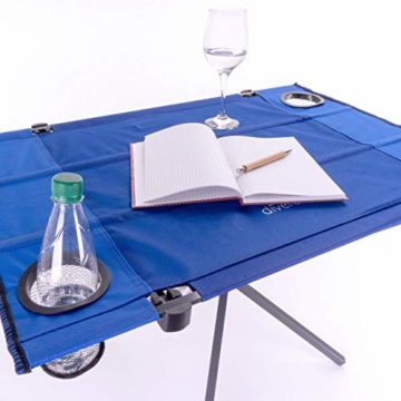 Divero Campingtisch Falt-Tisch faltbar mit Getränkehalter und Transport-Tasche – Polyester Aluminium – Farbe: Rahmen hellgrau - Bespannung blau - 3