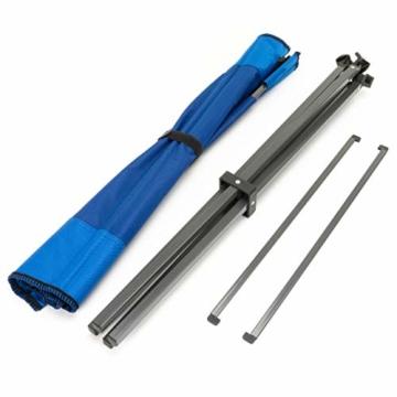 Divero Campingtisch Falt-Tisch faltbar mit Getränkehalter und Transport-Tasche – Polyester Aluminium – Farbe: Rahmen hellgrau - Bespannung blau - 4