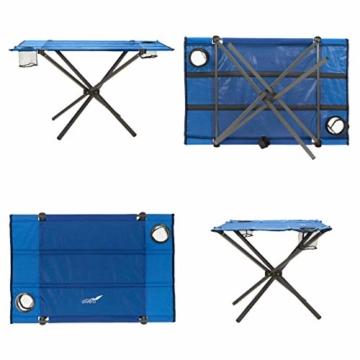 Divero Campingtisch Falt-Tisch faltbar mit Getränkehalter und Transport-Tasche – Polyester Aluminium – Farbe: Rahmen hellgrau - Bespannung blau - 6