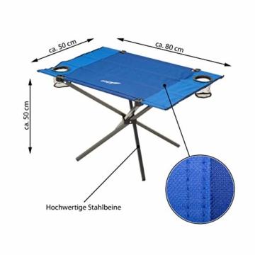 Divero Campingtisch Falt-Tisch faltbar mit Getränkehalter und Transport-Tasche – Polyester Aluminium – Farbe: Rahmen hellgrau - Bespannung blau - 7