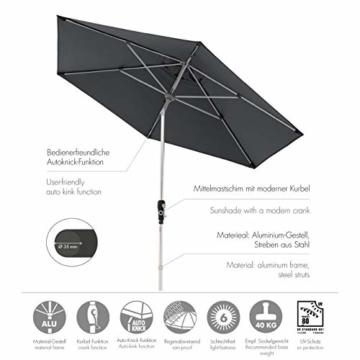Doppler Aluminium Sonnenschirm SL-AZ 275, Knickbarer Sonnenschutz für Balkon oder Terrasse, Regenabweisend, Anthrazit, 275 cm - 2