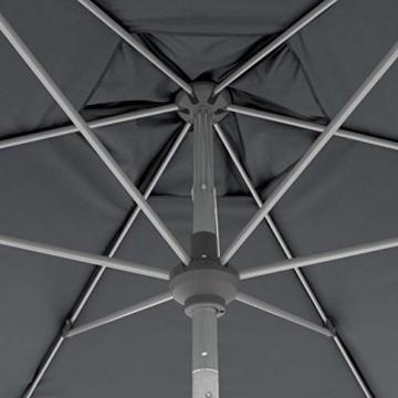 Doppler Aluminium Sonnenschirm SL-AZ 275, Knickbarer Sonnenschutz für Balkon oder Terrasse, Regenabweisend, Anthrazit, 275 cm - 3