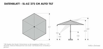 Doppler Aluminium Sonnenschirm SL-AZ 275, Knickbarer Sonnenschutz für Balkon oder Terrasse, Regenabweisend, Anthrazit, 275 cm - 6