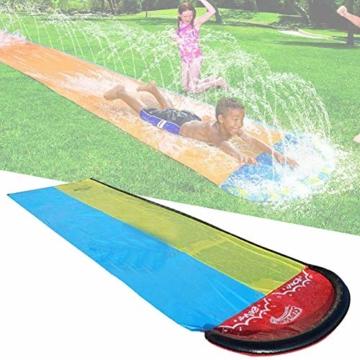 Dream-cool Wasserrutsche Rutschmatte, Riese Doppel-Wasserrutschbahn Rutsche Wassermatte Mit Sprinkler, Kinder Wasser Spielzeug Outdoor Wasserspielzeug Für Garten Rasen, 610 X 145 Cm, Ab 3 Jahre - 4