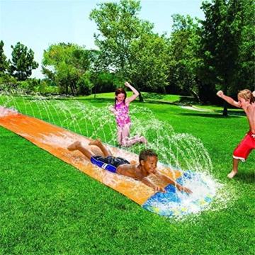 Dream-cool Wasserrutsche Rutschmatte, Riese Doppel-Wasserrutschbahn Rutsche Wassermatte Mit Sprinkler, Kinder Wasser Spielzeug Outdoor Wasserspielzeug Für Garten Rasen, 610 X 145 Cm, Ab 3 Jahre - 7