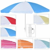 DRULINE Balkonschirm Sonnenschirm Strandschirm Schirm Marktschirm Gartenschirm Terrassenschirm Sommer Garten Sonne Weiße Streifen Sonnenschutz 156cm mit Farbauswahl Blau/Weiß - 1