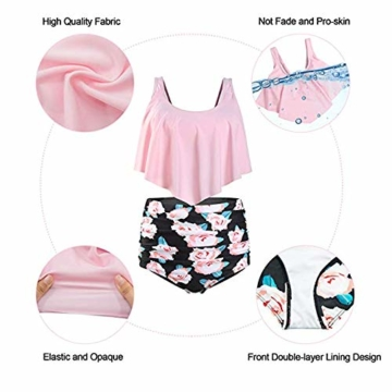Durio Bikini High Waist Damen Zweiteiliger Bikini Set Hohe Taille Bikinihose mit Langem Volant Rosa-Rose 44 - 2