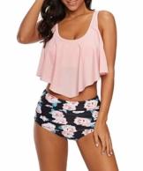 Durio Bikini High Waist Damen Zweiteiliger Bikini Set Hohe Taille Bikinihose mit Langem Volant Rosa-Rose 44 - 1