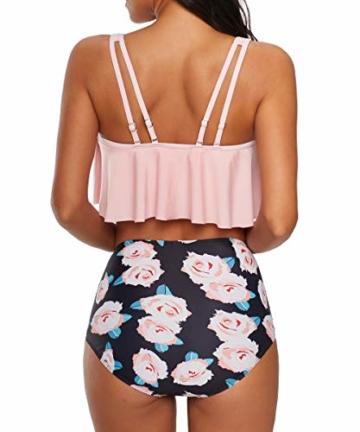 Durio Bikini High Waist Damen Zweiteiliger Bikini Set Hohe Taille Bikinihose mit Langem Volant Rosa-Rose 44 - 4