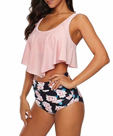Durio Bikini High Waist Damen Zweiteiliger Bikini Set Hohe Taille Bikinihose mit Langem Volant Rosa-Rose 44 - 6