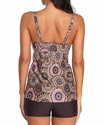 Durio Tankini Damen Bauchweg Badebekleidung Zweiteiliger Badeanzug mit Hot Pants Geometrisches Muster EU 44 (Herstellergröße XL) - 2