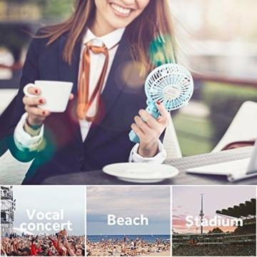 EasyAcc Handventilator Tragbarer Mini Lüfter Elektrischer USB Ventilator mit 2600mAh LG Aufladbarem Batterie Faltbar Kompatibel mit Laptop Multi Port Steckdose für Reisen und Zuhause - Türkis - 2