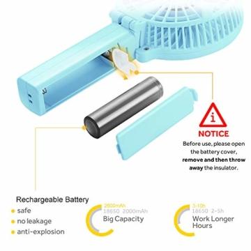 EasyAcc Handventilator Tragbarer Mini Lüfter Elektrischer USB Ventilator mit 2600mAh LG Aufladbarem Batterie Faltbar Kompatibel mit Laptop Multi Port Steckdose für Reisen und Zuhause - Türkis - 4