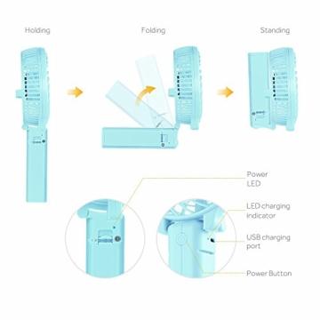 EasyAcc Handventilator Tragbarer Mini Lüfter Elektrischer USB Ventilator mit 2600mAh LG Aufladbarem Batterie Faltbar Kompatibel mit Laptop Multi Port Steckdose für Reisen und Zuhause - Türkis - 6