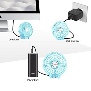 EasyAcc Handventilator Tragbarer Mini Lüfter Elektrischer USB Ventilator mit 2600mAh LG Aufladbarem Batterie Faltbar Kompatibel mit Laptop Multi Port Steckdose für Reisen und Zuhause - Türkis - 8
