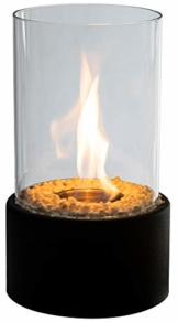 Edler Bio-Ethanol Tischkamin mit Löschstempel und Dekosteinen, schönes Flammenspiel für Innen und Außen, Feuerschale Dekofeuer Tischfeuer Glasfeuer Zimmerkamin Feuerschale Glas Metall Indoor Ourtdoor - 1