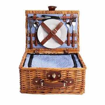 eGenuss LYP1598BLU Handgefertigtes Picknickkorb für 2 Personen – Kühlfach, Multifunktionsmesser, Edelstahlbesteck, Teller und Weingläser inklusive - Blaues Gingham-Muster 32x25x17 cm - 2