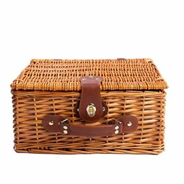 eGenuss LYP1598BLU Handgefertigtes Picknickkorb für 2 Personen – Kühlfach, Multifunktionsmesser, Edelstahlbesteck, Teller und Weingläser inklusive - Blaues Gingham-Muster 32x25x17 cm - 3