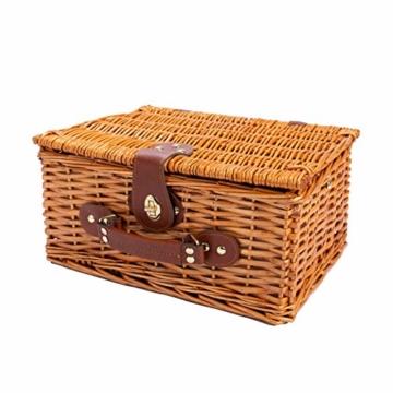 eGenuss LYP1598BLU Handgefertigtes Picknickkorb für 2 Personen – Kühlfach, Multifunktionsmesser, Edelstahlbesteck, Teller und Weingläser inklusive - Blaues Gingham-Muster 32x25x17 cm - 4